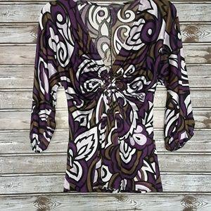 ⭐Hale Bob Purple,Lilac&Olive print blouse size XS